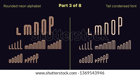 Condensed orange neon font, Rounded. Vector typefaces in outlined and filled styles, Part 3 of 8. Neon uppercase alphabet with narrow letters, numbers and symbols. For banner and display headlines