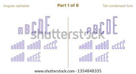 Condensed outlined sans serif font, Angular. Vector blue typefaces, Part 1 of 8. Set of tall uppercase alphabet with narrow letters, numbers and symbols. For poster and brochure headlines