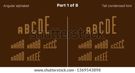Condensed outlined sans serif font, Angular. Vector golden typefaces, Part 1 of 8. Set of tall uppercase alphabet with narrow letters, numbers and symbols. For poster and brochure headlines