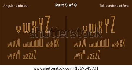Condensed outlined sans serif font, Angular. Vector golden typefaces, Part 5 of 8. Set of tall uppercase alphabet with narrow letters, numbers and symbols. For poster and brochure headlines
