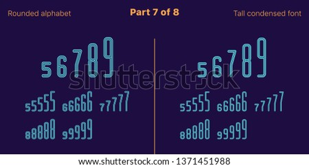 Condensed outlined sans serif font, Rounded. Vector azure typefaces, Part 7 of 8. Set of tall uppercase alphabet with narrow letters, numbers and symbols. For poster and brochure headlines