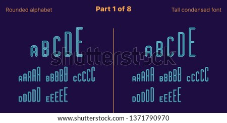 Condensed outlined sans serif font, Rounded. Vector azure typefaces, Part 1 of 8. Set of tall uppercase alphabet with narrow letters, numbers and symbols. For poster and brochure headlines