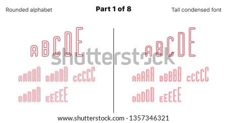 Condensed outlined sans serif font, Rounded. Vector red typefaces, Part 1 of 8. Set of tall uppercase alphabet with narrow letters, numbers and symbols. For poster and brochure headlines