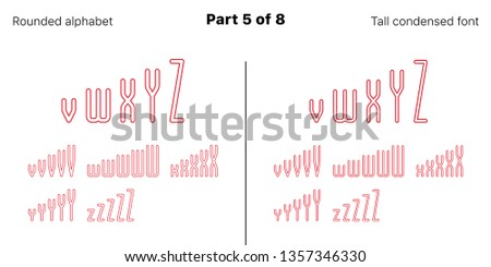 Condensed outlined sans serif font, Rounded. Vector red typefaces, Part 5 of 8. Set of tall uppercase alphabet with narrow letters, numbers and symbols. For poster and brochure headlines
