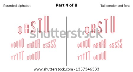 Condensed outlined sans serif font, Rounded. Vector red typefaces, Part 4 of 8. Set of tall uppercase alphabet with narrow letters, numbers and symbols. For poster and brochure headlines