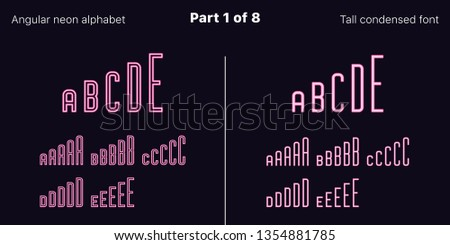 Condensed pink neon font, Angular. Vector typefaces set in outlined and filled styles, Part 1 of 8. Neon uppercase alphabet with narrow letters, numbers and symbols. For banner and display headlines