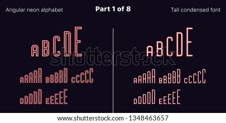 Condensed Red neon font, Angular. Vector typefaces in outlined and filled styles, Part 1 of 8. Neon uppercase alphabet with narrow letters, numbers and symbols. For banner and display headlines