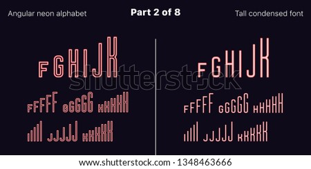 Condensed Red neon font, Angular. Vector typefaces in outlined and filled styles, Part 2 of 8. Neon uppercase alphabet with narrow letters, numbers and symbols. For banner and display headlines