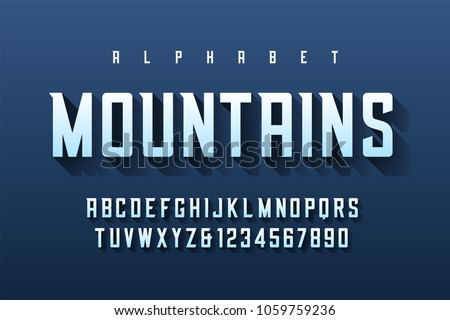 Condensed retro display font design, alphabet, character set, letters and numbers. Swatch color control.