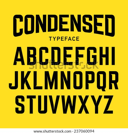 Condensed typeface, industrial bold style font. Vector.