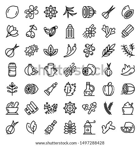 Condiment icons set. Outline set of condiment vector icons for web design isolated on white background