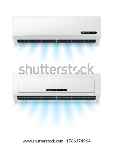 Conditioners, realistic air conditioning eqipment vector mockup. Working and blowing out cold, fresh flows through vents, cooling room air conditioner unit. AC installing, maintenance service Foto stock ©
