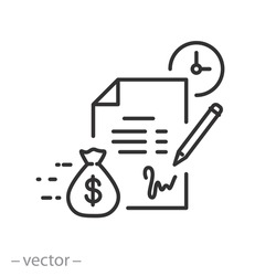 conditions loan or credit, icon, settlement service, financial contract and salary, legal agreement, payment cost, thin line symbol on white background - editable stroke vector illustration eps10