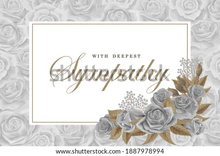 Condolences grayscale rose bouquets with white frame and golden text and leaves on silver background. Save the date, sympathy, condolences or strict style postcard vector template Foto stock ©