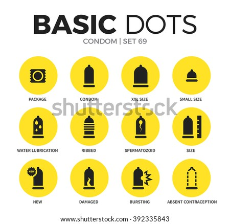 condom flat icons set with