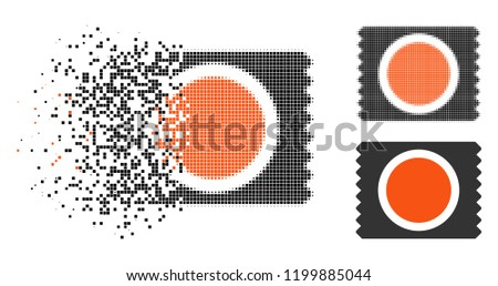Condom pack icon in dissolving, pixelated halftone and undamaged entire variants. Pieces are organized into vector dissolving condom pack icon. Disappearing effect uses rectangle pixels.