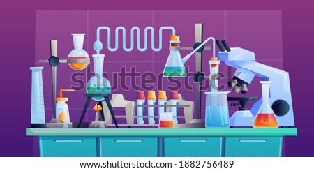 Conducting chemical test or experiment on indoor table, laboratory to conduct medical researchers with test tubes, beakers and pipeline. Vector cartoon pharmaceutical and medical glassware, microscope Stockfoto ©