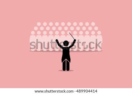 conductor conducting a choir
