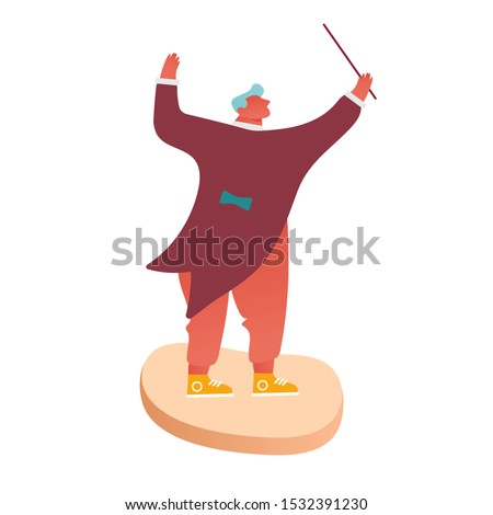 Conductor of Classic Instrumental Symphony Orchestra Concert. People Musician Character Directing  Music with Instruments Performing on Stage. Cartoon Flat Vector Illustration