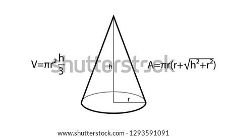 Cone formulas vector. Geometry vector. Geometry formulas