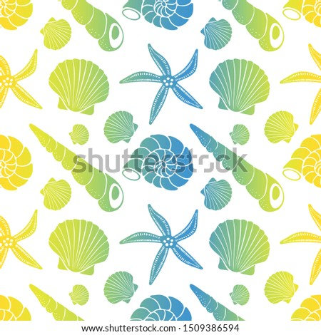 Cone shells, snail shells, scallop shells, starfish, bright colors with gradient on white background. Vector seamless pattern.