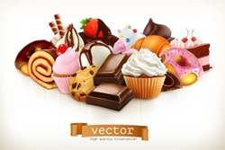 Confectionery. Chocolate, cakes, cupcakes, donuts. 3d realistic vector