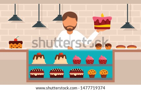 Confectionery concept background. Flat illustration of confectionery vector concept background for web design