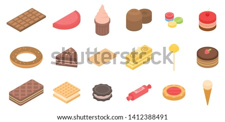 Confectionery icons set. Isometric set of confectionery vector icons for web design isolated on white background