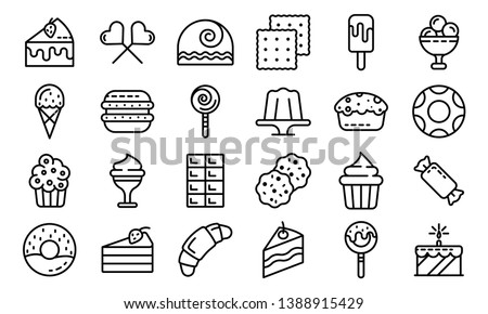 Confectionery icons set. Outline set of confectionery vector icons for web design isolated on white background