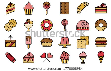 Confectionery icons set. Outline set of confectionery vector icons thin line color flat on white