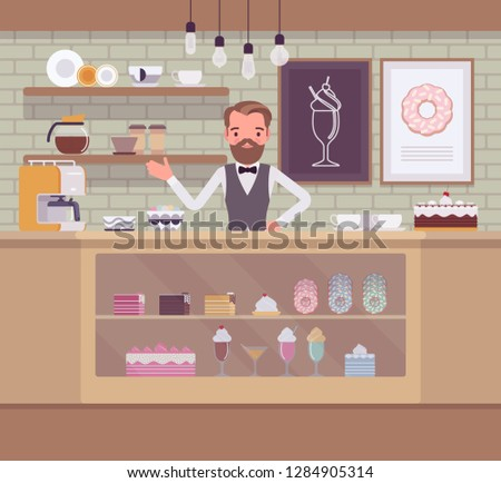 Confectionery store, shop with sweet assortment, man sells sugary food. Smiling male seller welcoming buyers, display window with tasty bakery, cakes, pastry. Small business idea. Vector illustration