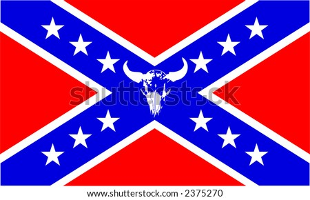 Confederate flag with buffalo skull, scalable, editable colors- vector illustration