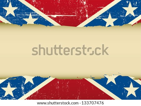 A confederate flag with a large frame for your message ...