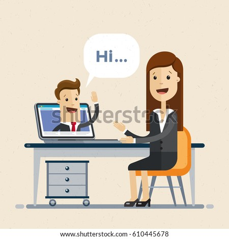 Conference call at office. Businessman and woman talking by video chat.  Online Interview. Vector, Illustration, flat