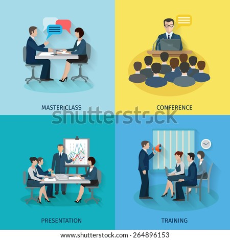 Conference design concept set with master class presentation training flat icons isolated vector illustration Foto stock ©