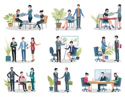 Conference holding and contract signing, office business meetings vector. Documents folders and laptop, workplace and graphic, boss and employees in flat style