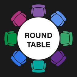 Conference meeting icon. Round table logotype. Dining room furniture top view. Abstract vector background. Round frame.