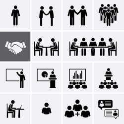 Conference Meeting Icons set. Team work and human resource management Icons. Vector pictogram