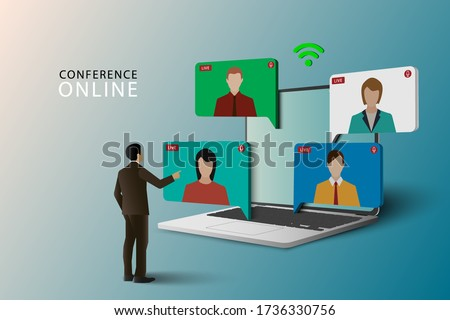 Conference meeting online concept. Live meeting on laptop. Video meeting online.Video conference landing. Live conferencing and online meeting workspace vector.