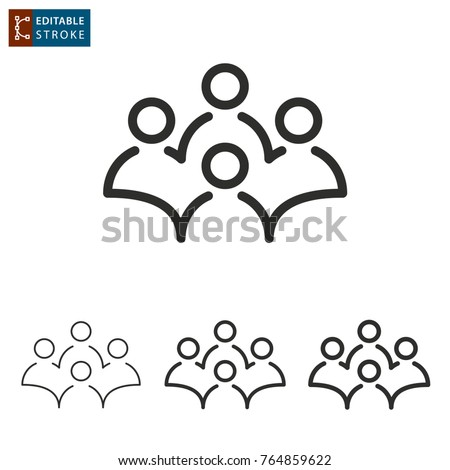 Conference - outline icon on white background. Editable stroke. Vector illustration.