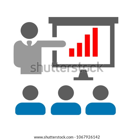 conference presentation illustration - business conference, people seminar - communication
