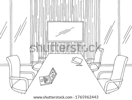 Conference room office vertical garden interior graphic black white sketch illustration vector Foto stock ©