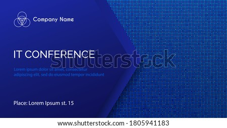 Conference vector template. Abstract dotted blue minimal background for IT conference invitation, business meeting. Banner for social media announcement