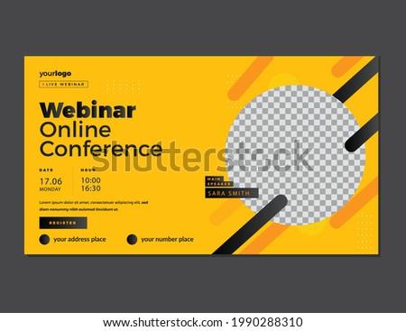 Conference web banner or social media horizontal banner design.online Business webinar invitation or live conference banner design, seminar or social web banner