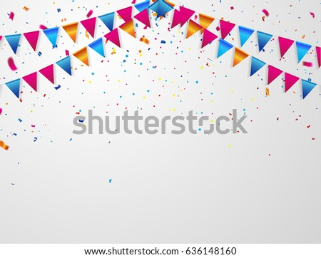 Confetti and flag ribbons, Celebration background template with.