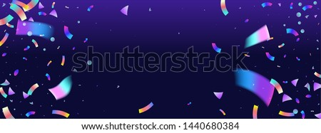 Confetti background colorful explosion. Holographic with Light Glitch Effect. Abstract vector illustration banner