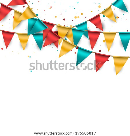 Confetti Background with Garland and Buntings Foto stock ©