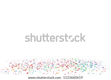 Confetti, bright colorful, rainbow concept paper scatter on the floor festive of celebration party abstract background vector illustration