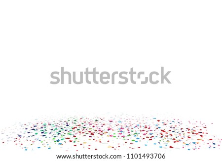 Confetti, colorful paper scatter on the floor festive of celebration abstract background vector illustration