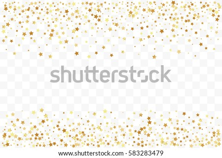 Confetti cover from gold stars. Top and down borders. Design element, special effect on transparent background.